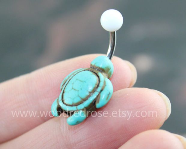 Turquoise Turtle Belly Button Rings, turtle belly button jewelry,turtle Navel jewelry,friendship belly rings, No Dangle Belly Ring