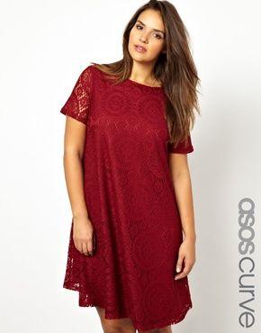ASOS CURVE Swing Dress In Kaleidoscope Lace