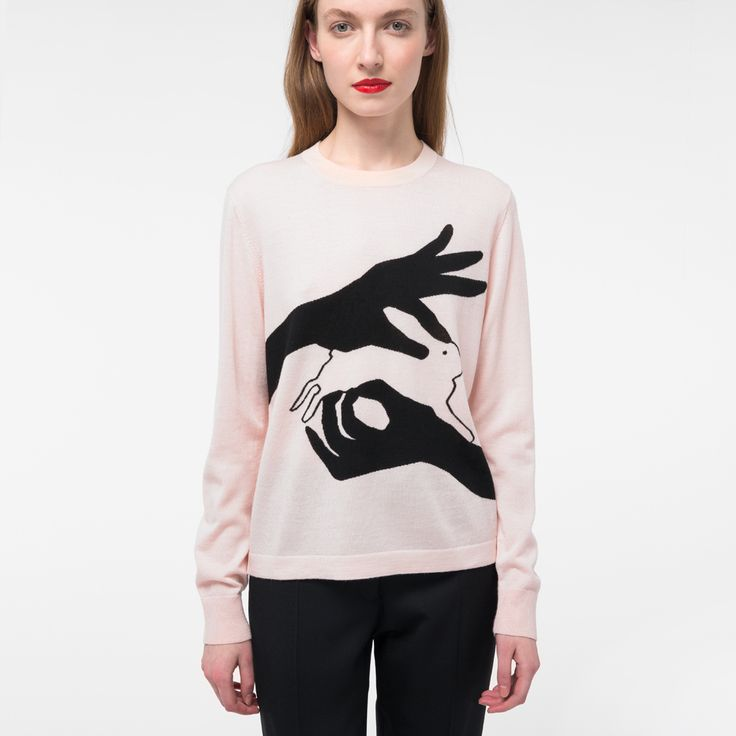 paul smith bag buy online, Paul Smith Womens Pink Merino Wool Sweater With Shadow Bunny Intarsia Psxp-141K-755A-P, paul smith clothing sale uk where can i buy - $147.29