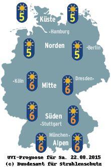 Wie erhalte ich meine Haut gesund? Die eigene Haut gut zu kennen und einschätzen zu können, ist ein erster und wichtiger Schritt. Sie sollten auch die Intensität der sonnenbrandwirksamen UV-Strahlung  beachten, denn diese kann je nach Breitengraden oder Höhenlagen sehr unterschiedlich stark sein. Die Intensität von UV-Strahlung wird als UV-Index angegeben. Für das kommende Wochenende werden in Deutschland mittelere bis hohe Werte (im Norden 5, im Süden 6) vorausgesagt.