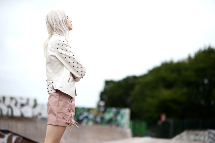 • White leather studded jacket •