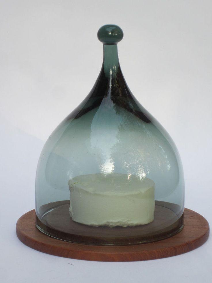 Käseglocke HADELAND Norway BENNY MOTZFELDT Rauch glas Teak Mid Century Design