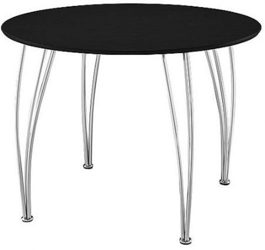 Dining Table Round Black Finish Seats 4 Chrome Legs  #ShellBentwood