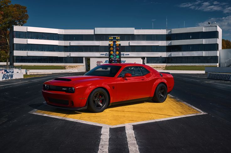 Dodge unveiled Challenger SRT Demon  Powered by a 840-horsepower, supercharged 6.2-liter HEMI Demon V-8, the limited-production Challenger SRT Demon is the world's most powerful factory-production V-8 – bar none. NHRA-certified 9.65 seconds @ 140 mph makes the Dodge Challenger SRT Demon the fastest 1/4-mile car in the world.