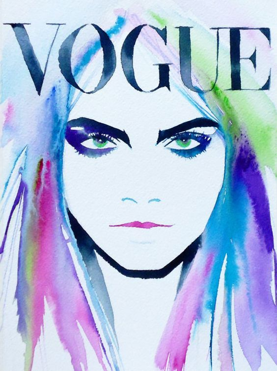 Mode Illustration Kunstdruck Original Aquarell von KimberlyGodfrey: