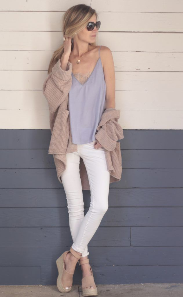 spring outfit: slouchy pink cardigan over free people violet cami