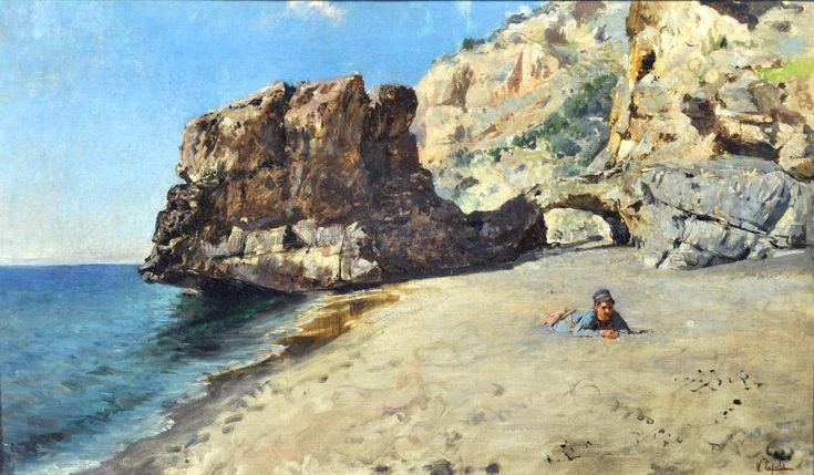 Caprile Vincenzo (Napoli 1856 - 1936) Sulla spiaggia