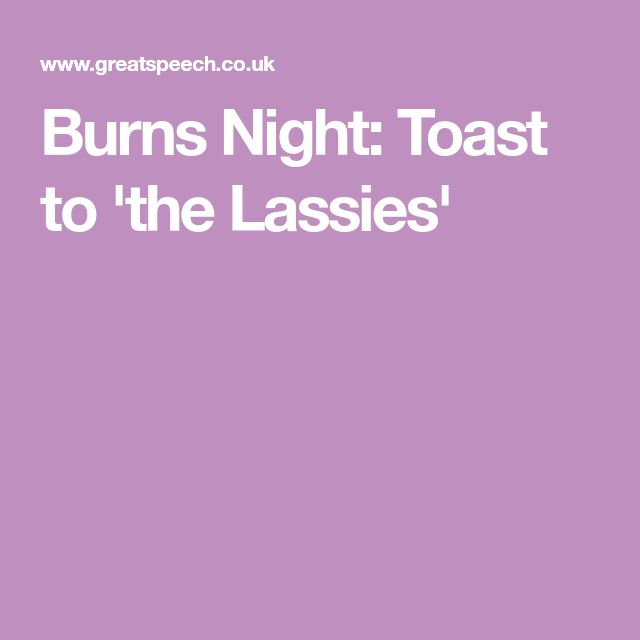Burns Night: Toast to 'the Lassies'
