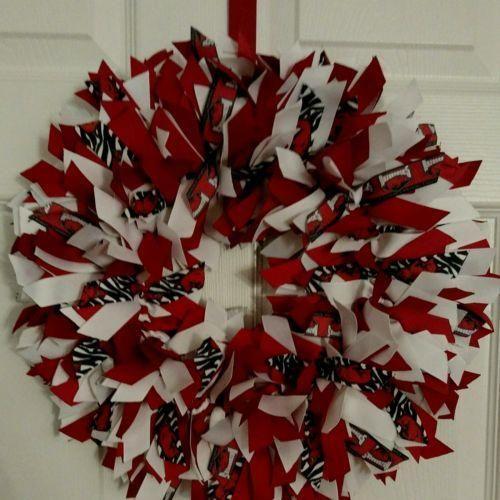 """ARKANSAS RAZORBACKS CUSTOM MADE 16"""" Ribbon Wreath Custom -NEW"""