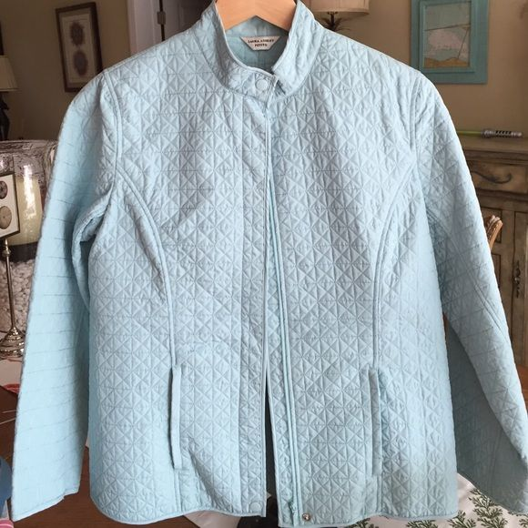 """Laura Ashley quilted jacket Light aqua petite medium quilted jacket. Brand new condition. Zips up with a snap in the collar area. Two slanted front ZIP pockets. Sleeves can be rolled back if too long. 24"""" down the back from top to edge of jacket. Sleeves are 221/2 inches. Nice detailing with the princess seams. No trades, no PP Laura Ashley Jackets & Coats Utility Jackets"""