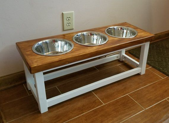 Elevated Dog Feeder With 3 Bowls Dog Feeding Station Triple Dog