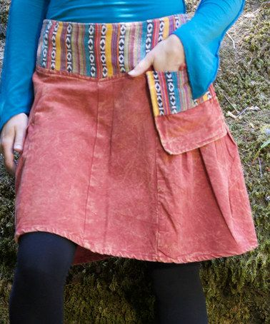 Loving this Rust Patchwork Stone Wash A-Line Skirt on #zulily! #zulilyfinds
