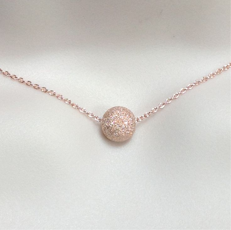 Stardust bead necklace 8mm, rose gold necklace, rose gold jewelry, minimalist, bridesmaid gift, maid of honor gift, rose gold layering by WendyShrayDesigns on Etsy https://www.etsy.com/listing/123667002/stardust-bead-necklace-8mm-rose-gold