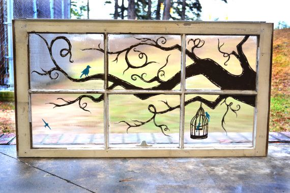 Painted Window with Branch and Bird Motif
