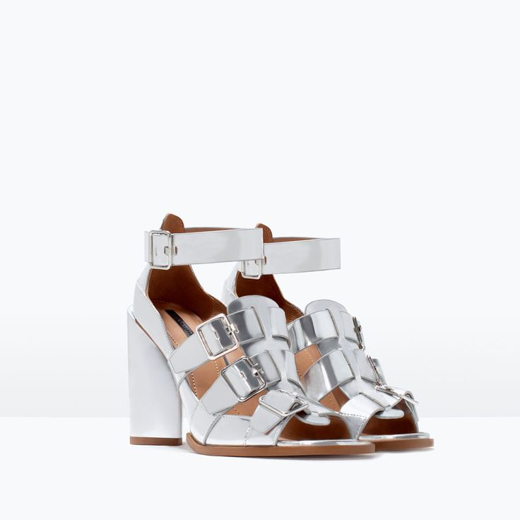 Image 2 of BUCKLED MIRROR SANDALS WITH HEEL from Zara