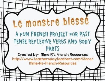 Make learning reflexive verbs fun with this NO PREP activity. If you are learning reflexive verbs and body parts, your students will love this!Reinforce reflexive verbs in the pass compos and let your kids' creativity shine through!Students are asked to design a monster with an injury. (I have recently been doing this around Halloween to hang them up, but for years, we reached this point in the curriculum in the spring, and it was just as fun!)
