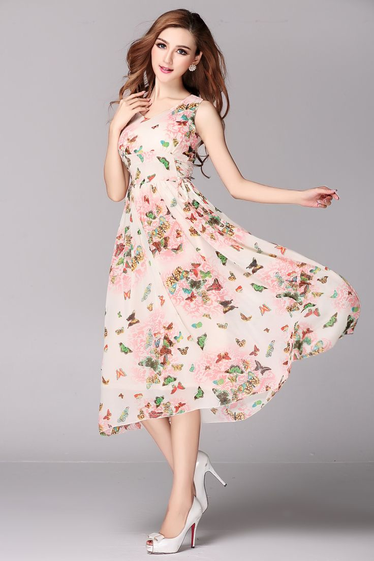 Summer V-Neck Sleeveless A-Line Print Chiffon Casual Maxi