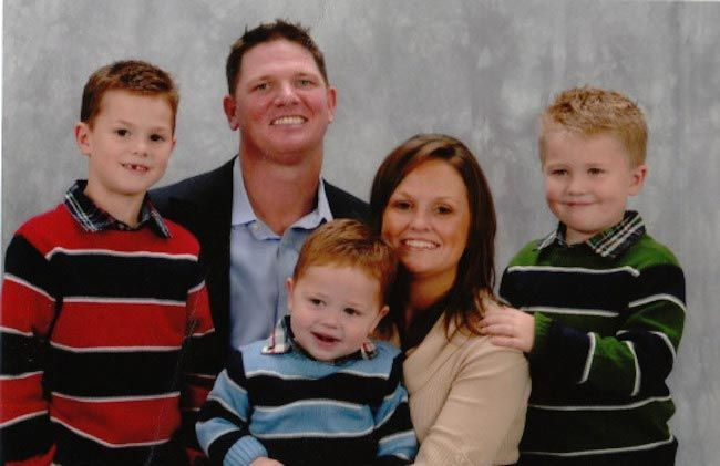 A.J. Styles with wife Wendy Jones and their first three children...