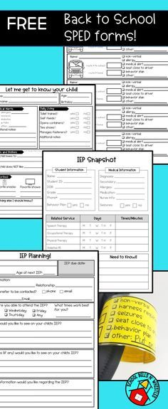 IEP snapshot, IEP Planning sheet for parents, backpack tags for bus and parent pick up, and more back to school forms created for the special education classroom! FREE