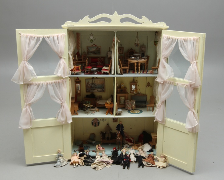 Small Display Cabinet Turned Into A Dollhouse Doll