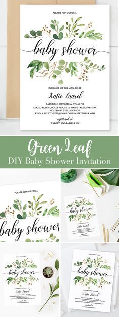 Green Leaf baby shower invitation template by LittleSizzle. DIY baby shower invites for a gender neutral party. Create your own invitations for your baby shower with this unique invitation template. It is perfect for a botanical themed or greenery themed