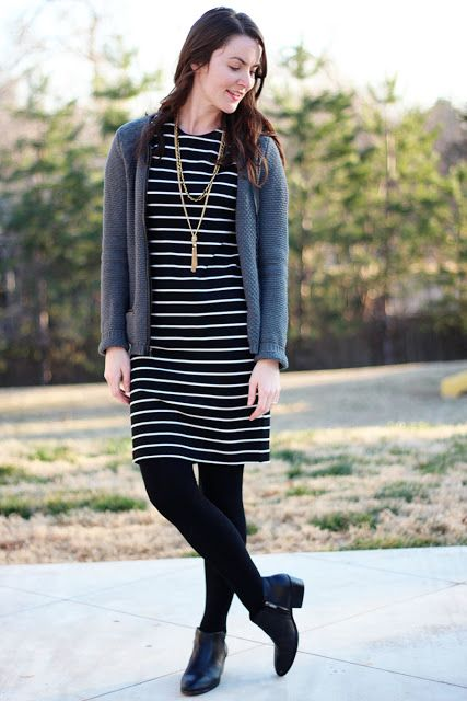 black and white striped dress with booties