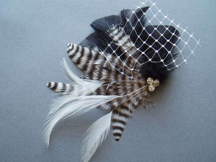 Wedding Feather Hair Clip Black and White Fascinator Birdcage Veil by WeeGardens, $32.00