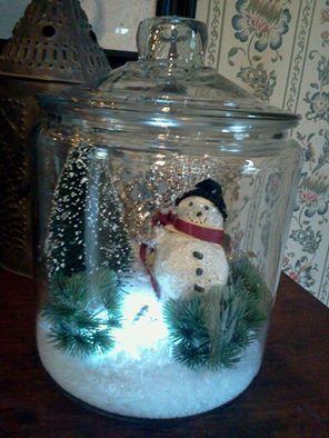 Hand crafted snow man terrarium.