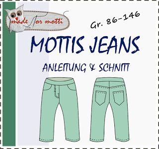 Made for Motti: MOTTIS JEANS, 86-146, Hose für Webware, Cord, Jeans. Mit Anleitung für schlanke, kräftige Kids