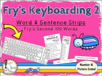 This resource directly follows on from Fry's Keyboarding - Sight Words & Sentence Strips - Fry's first 100 words .Includes all of Fry's second 100 word strips PLUS 200 sentence strips ALL numbered & picture coded AND checklisted!  This is an engaging activity for students to practice their sight words by having to read the word, type it on the keyboard, then mark it on the check off list.