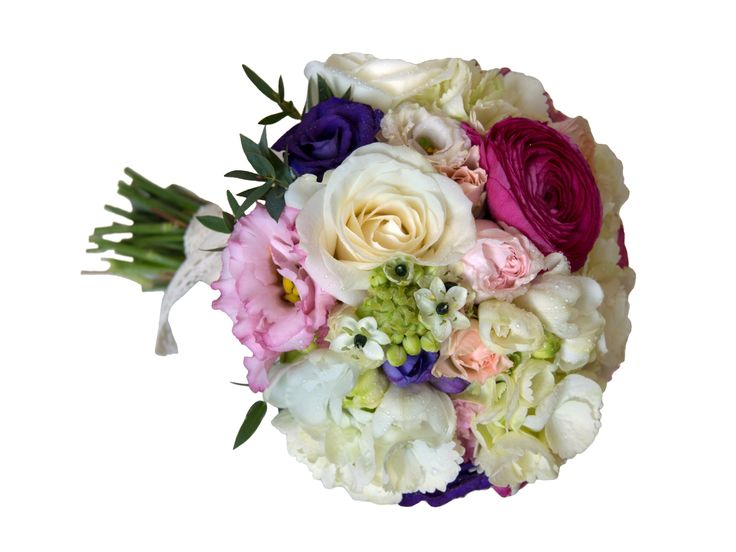 Buchetul este alcatuit din trandafiri, minitrandafiri, ranunculus, hortensie, ornitogalum, lisianthus si frezii.