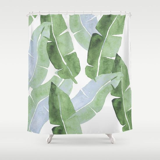 Tropical Leaves 2 Blue And Green Shower Curtain