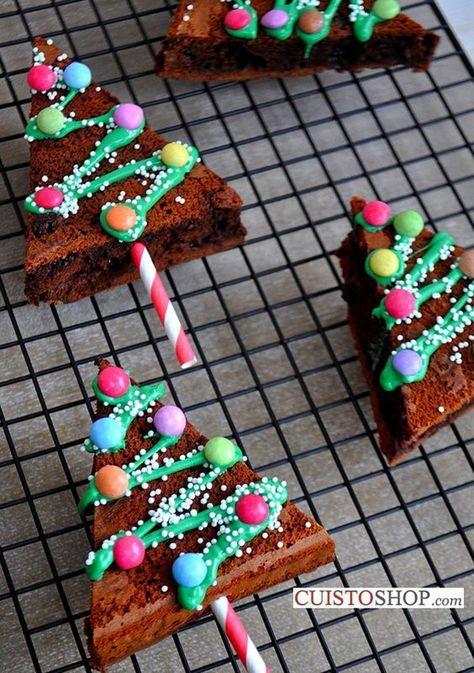 Des gâteaux au chocolat en forme de sapin