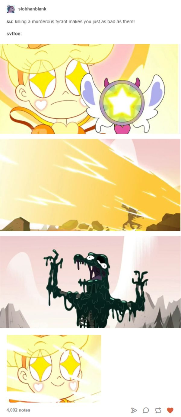 """""""SU: Killing a murderous tyrant makes you just as bad as them! SVTFOE: ..."""" 