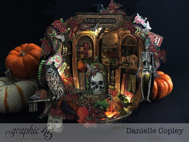 Halloween Shadow Box Pumpkin using Graphic 45 Rare Oddities by Danielle Copley