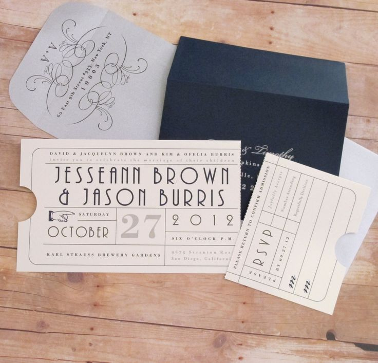 Punch Card Ticket Wedding Invitation by LetterBoxInk