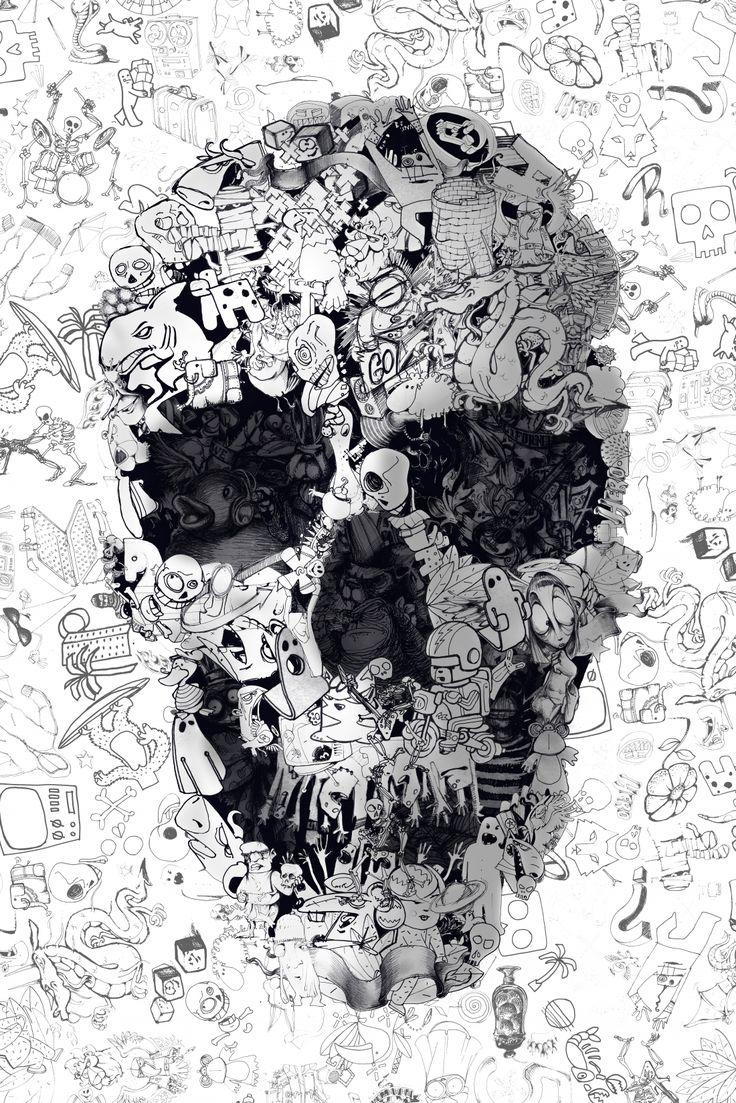 Fond d'écran tête de mort dessin animé