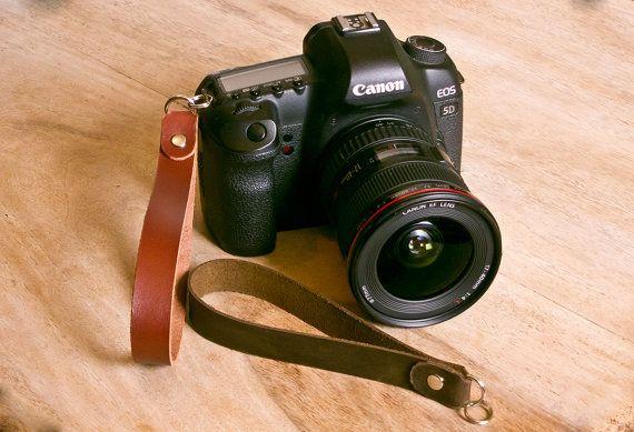 Leather SLR Camera Wrist Strap  FREE personalisation by OakAndAwl