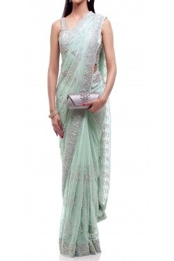 Mint Silver Saree | Shop this at: http://www.inanna.co.in/sarees/mint-silver-saree