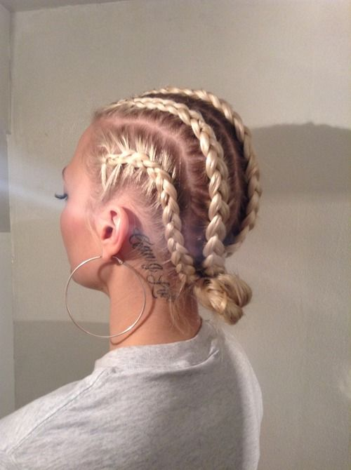 Pinterest: DEBORAHPRAHA ♥ cornrows and a bun + blonde hair color and hoops