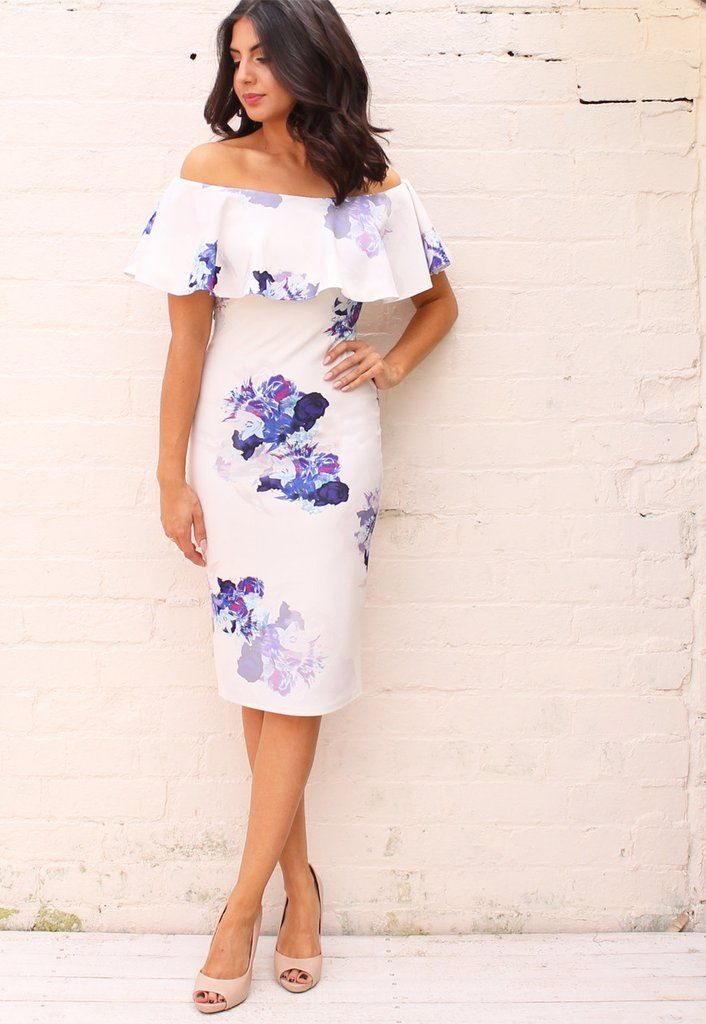 Frill Off The Shoulder Bardot Pencil Dress with Floral Print in White with Purple - One Nation Clothing - One Nation Clothing - 1