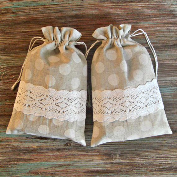 Linen Gift Bag Handmade Bags  Favor Bags by BoutiqueSweetFloret