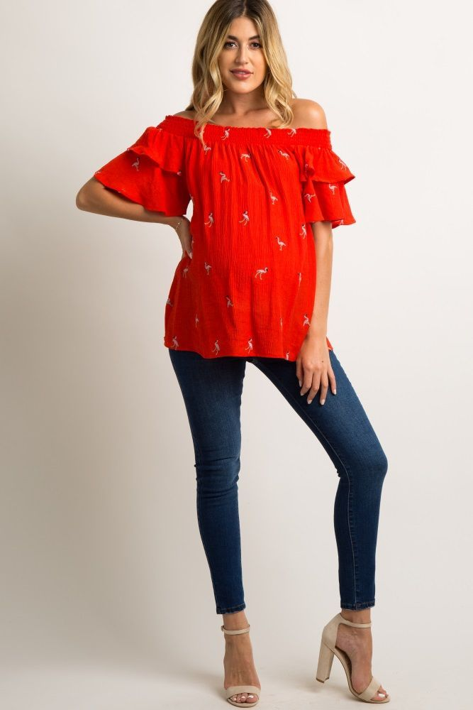 7cd1d9aac9c7b Red Flamingo Embroidered Off Shoulder Maternity Top in 2019