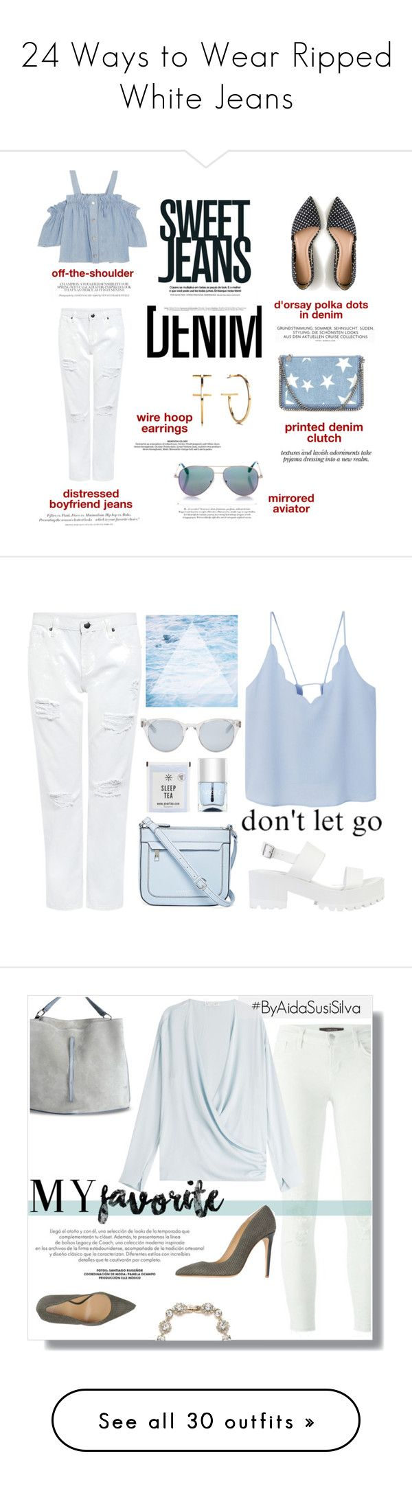 """24 Ways to Wear Ripped White Jeans"" by polyvore-editorial ❤ liked on Polyvore featuring waystowear, rippedwhitejeans, Steve J & Yoni P, Edit, H&M, J.Crew, STELLA McCARTNEY, Nicole, Cutler and Gross and Denimondenim"