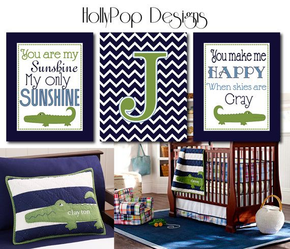 You Are My Sunshine Boy Nursery Decor Personalized Art Prints Pottery Barn Alligator Madras Navy Blue Green wall decor Idea bedroom playroom on Etsy, $37.00