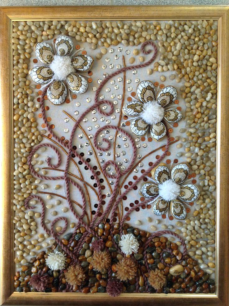 Barna kővirágok 30/40 cm kavics-textil kép