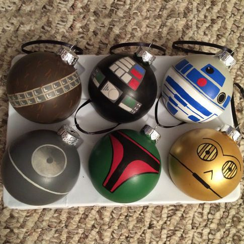 Star Wars Ornaments! Shut up and give me the details! Set includes 6 ornaments Death Star Darth Vader Boba Fett Chewbacca R2D2 and C3POShatterproof