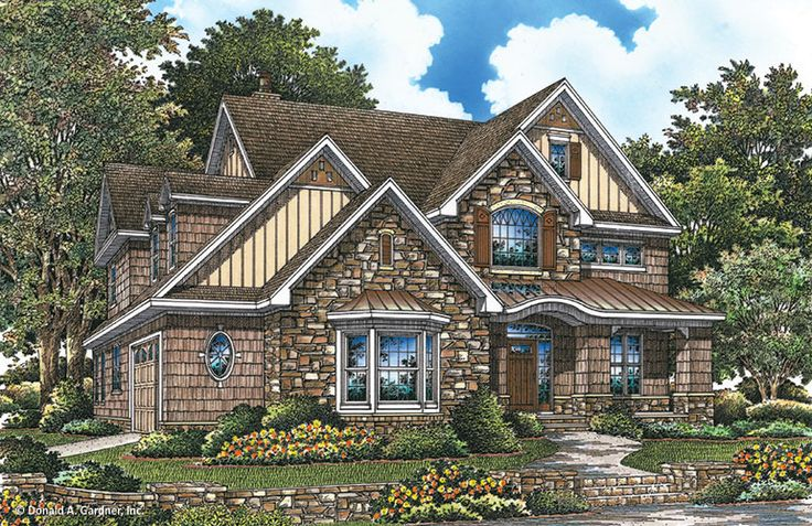 Plan of the Week over 2500 sq ft - The Rutherford 1241! Stone accents and a bay window present a charming front facade for the Rutherford house plan. #WeDesignDreams