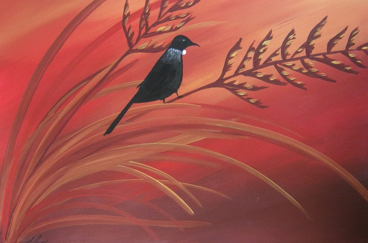 Songs At Sunset: New Zealand Bird Paintings, Modern, Abstract and Contemporary Art, by Artist Megan Morris. www.paintingsforsaledirect.com