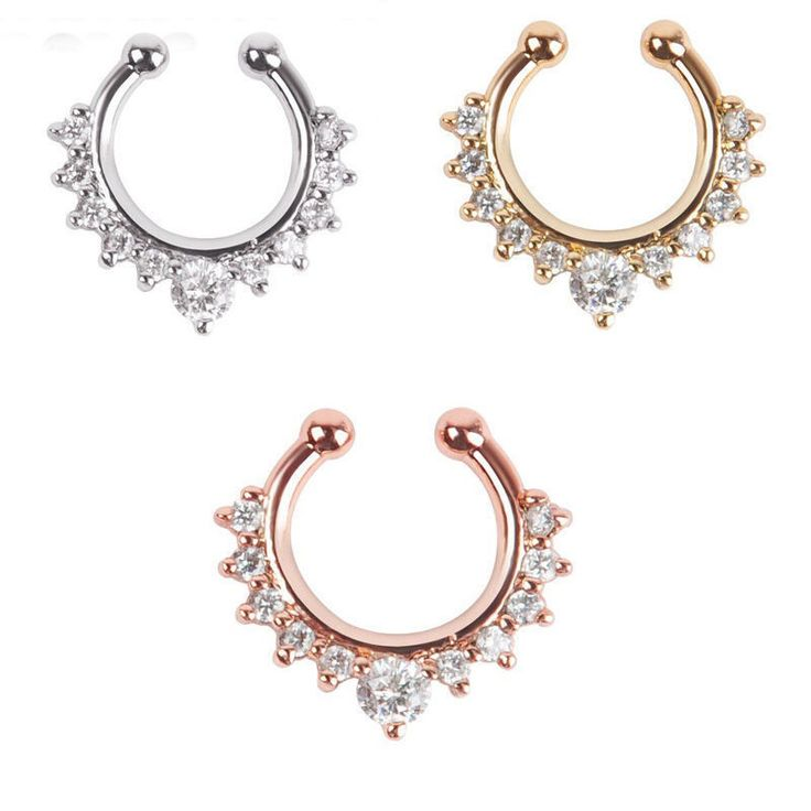 Fashionable Alloy Nose Hoop Nose Rings Body Piercing Jewelry Fake Septum Clicker Non Piercing Hanger Clip On Jewelry